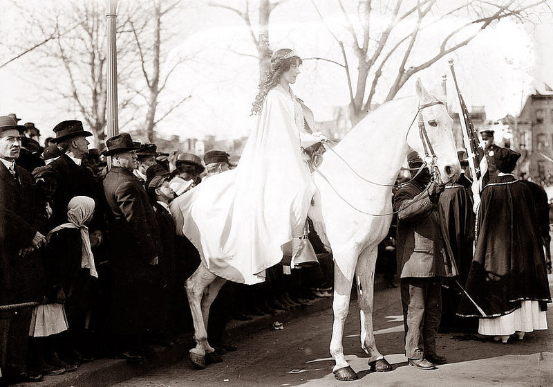 Inez Milholland leads 1913 Woman Suffrage Procession in Washington, D.C. Photo credit: Bain Reporting, Library of Congress Archives.