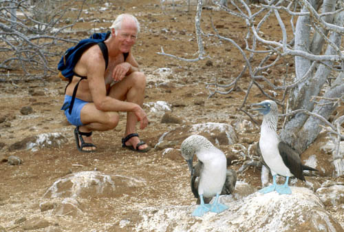Murph and boobies in the Galapagos where species are almost totally unafraid of people because they