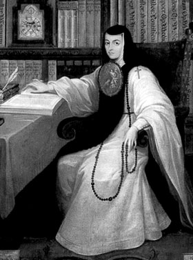 Sor Juana in her study (www.ggbb.org/about/broads/images/juana_ines.jpg)