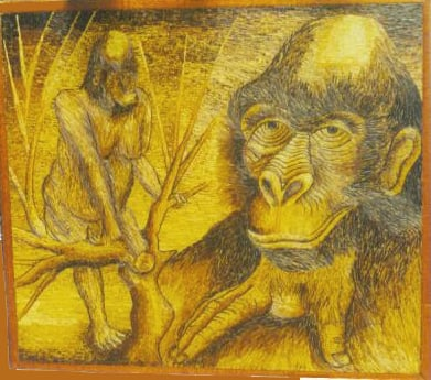 Picture of Gold on the Mountains<br>- an example of banana fiber mosaic art -