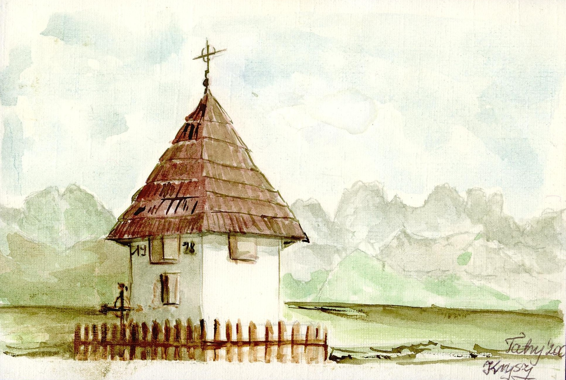 Picture of Tatra Mountain and the small shrine