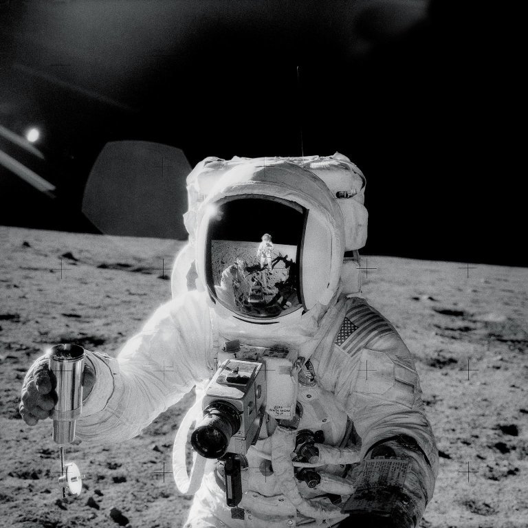Picture of Alan Bean with Lunar Soil