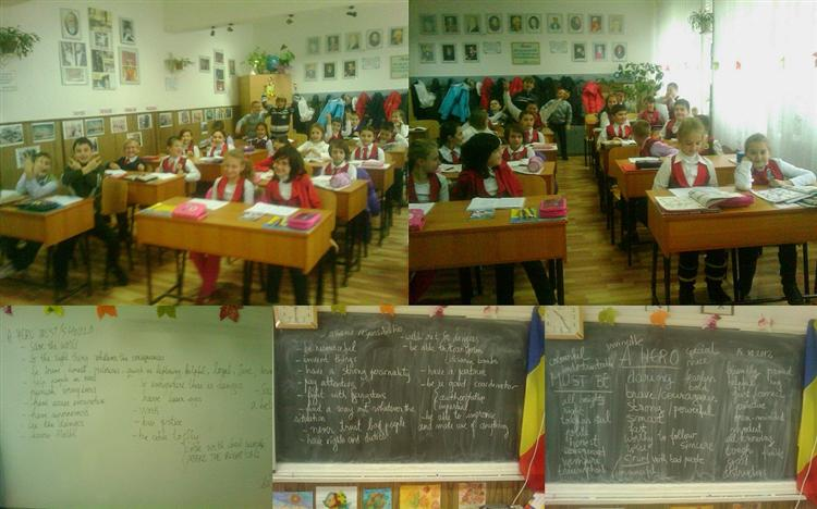 Picture of Collage of class 4 A working on HEROES from Romania