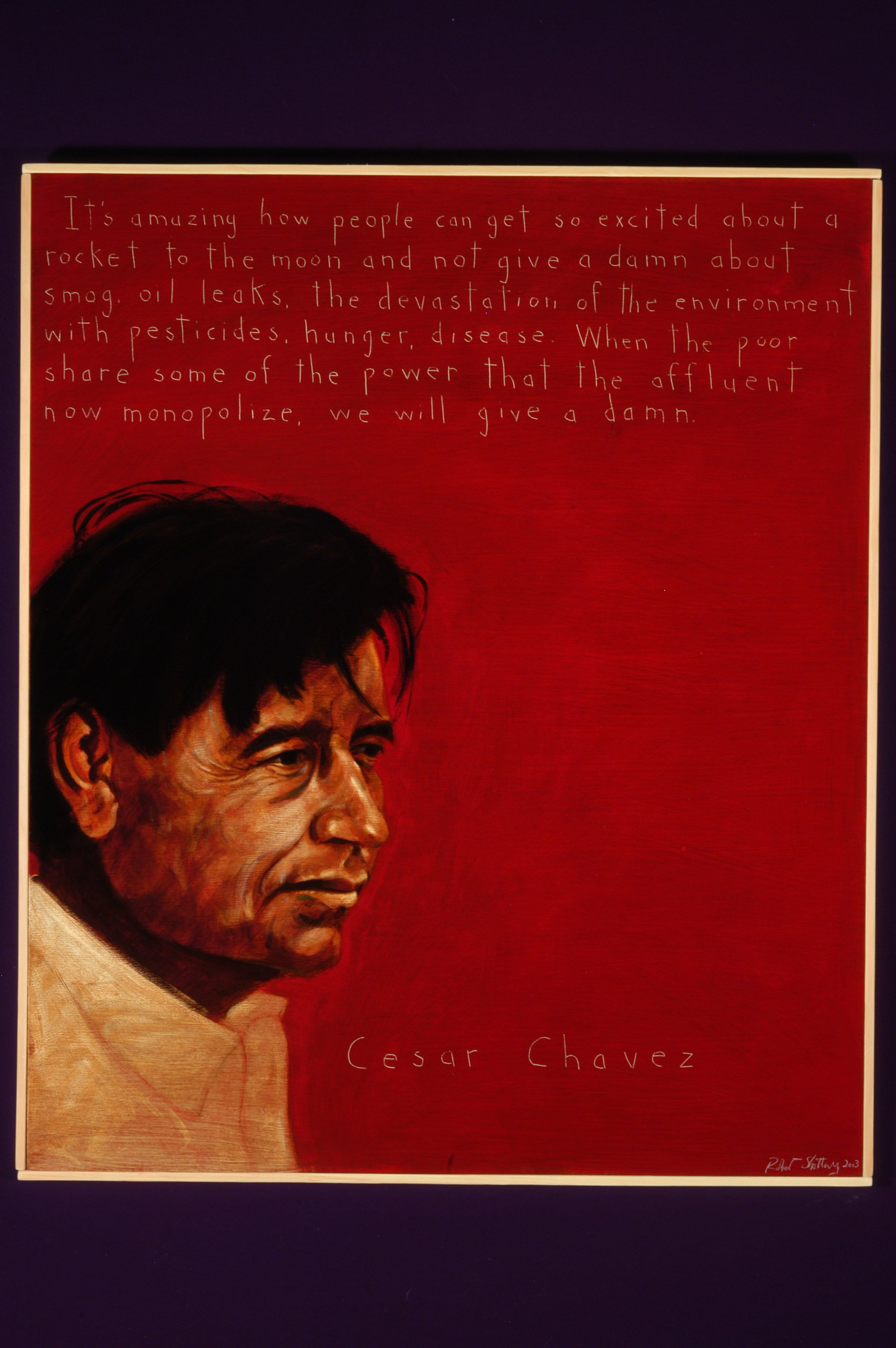Picture of Cesar Chavez by artist Robert Shetterly, AWTT.org