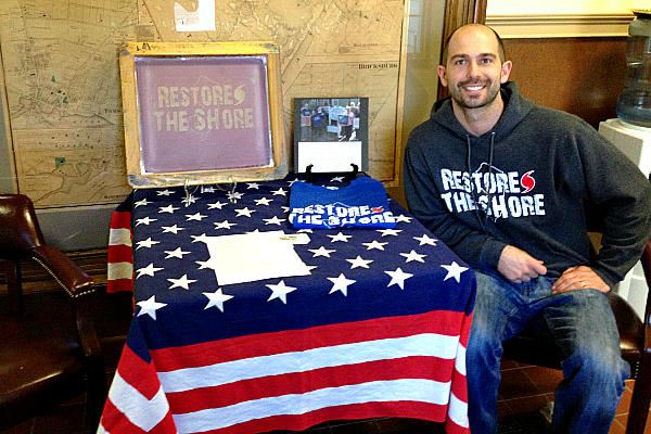Picture of Scott Zabelski found T-shirts were a perfect fit for hurricane Sandy relief