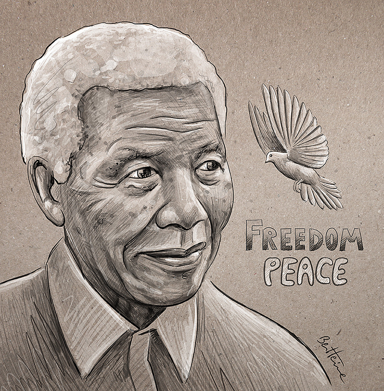 Picture of Nelson Mandela-Freedom, Peace by Ben heine