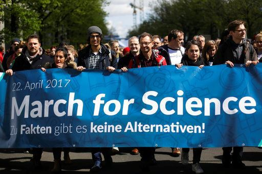 Thousands of demonstrators attend the March for Science in Berlin