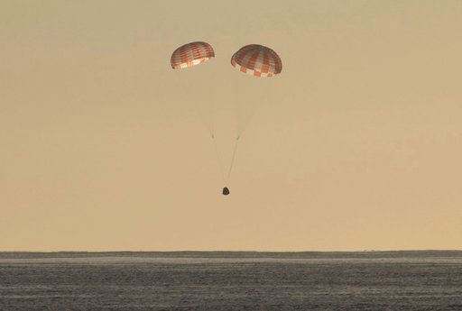 SpaceX, the Dragon cargo ship parachutes into the Pacific off the Southern California coast on Sunday, March 19, 2017.