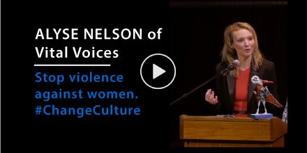 Picture of Alyse Nelson of Vital Voices speaks out on violence against women