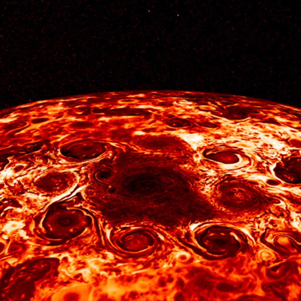 Picture of Geometric clusters of cyclones churn over Jupiter's poles