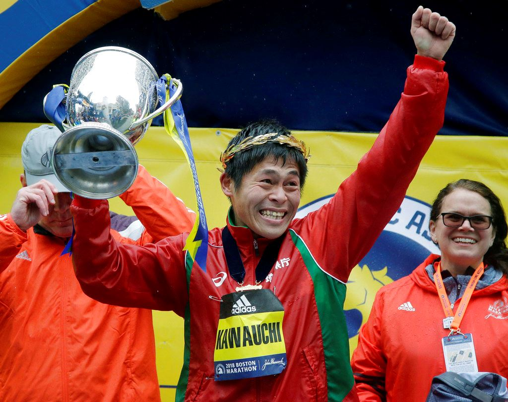 Picture of Linden wins Boston Marathon, 1st US woman since '85