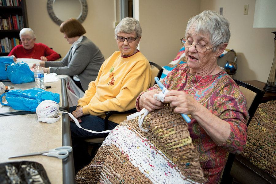 Picture of How these women crochet sleeping mats for homeless people out of plastic bags