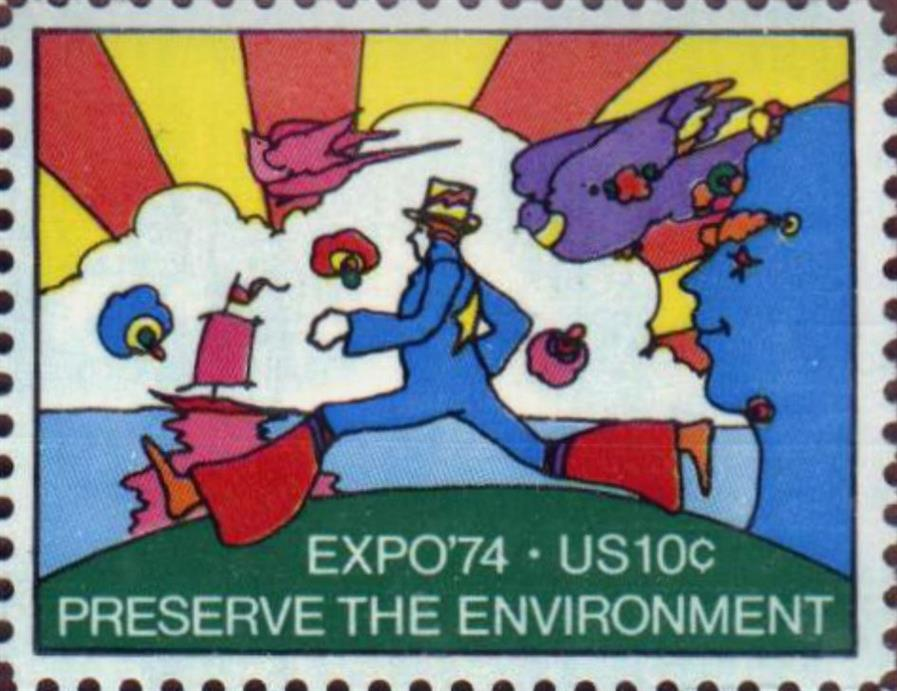 Picture of Preserve the Environment Stamp by Peter Max  1974