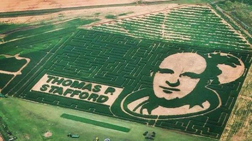 Picture of Oklahoma astronaut corn maze photographed from space