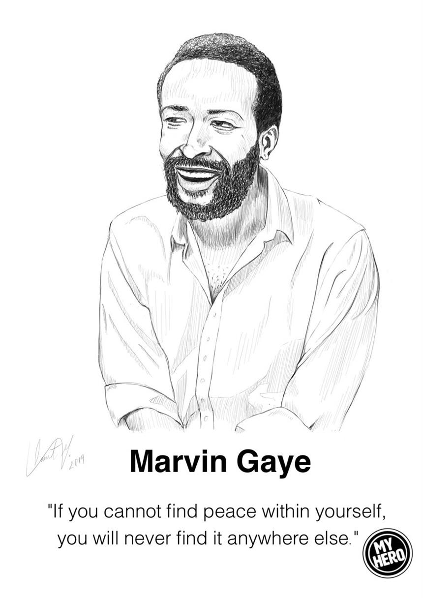 Drawing of Marvin Gaye by Saint George Thompson