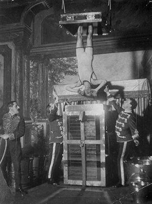 Houdini performing Chinese water torture