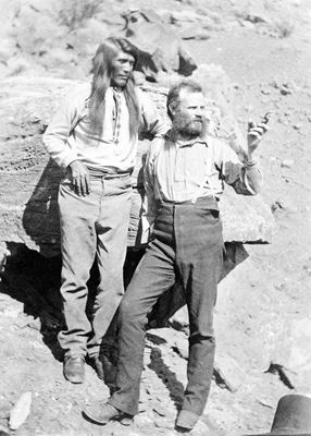 John Wesley Powell with Tau-gu, Chief of the Paiutes, overlooking the Virgin River (circa 1871-1874)