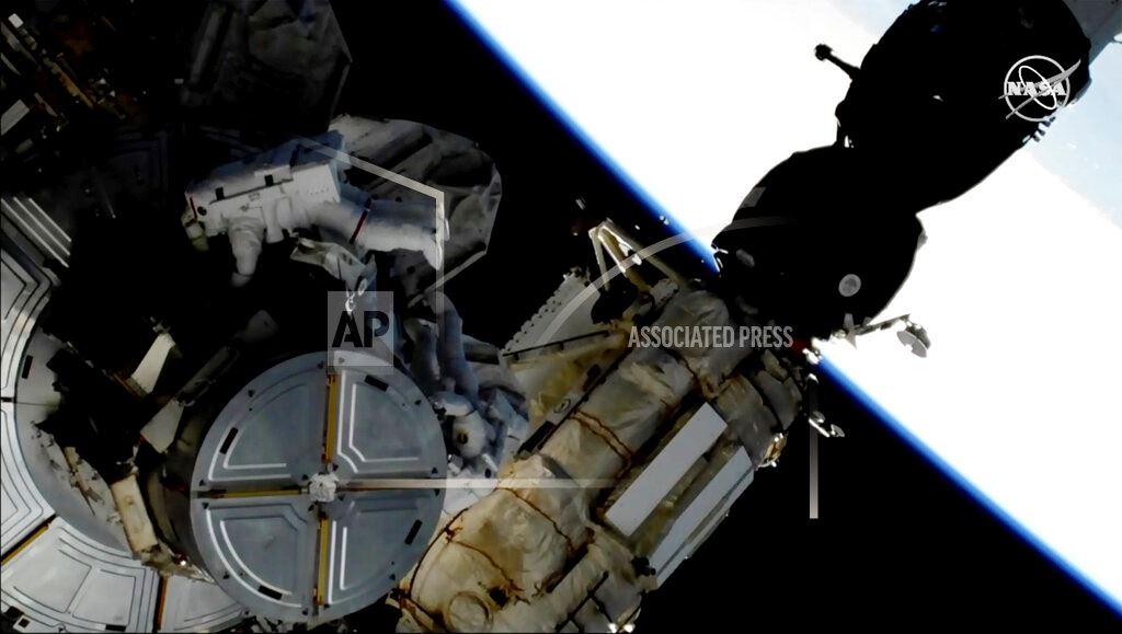 Picture of Spacewalking astronauts swap out space station's batteries