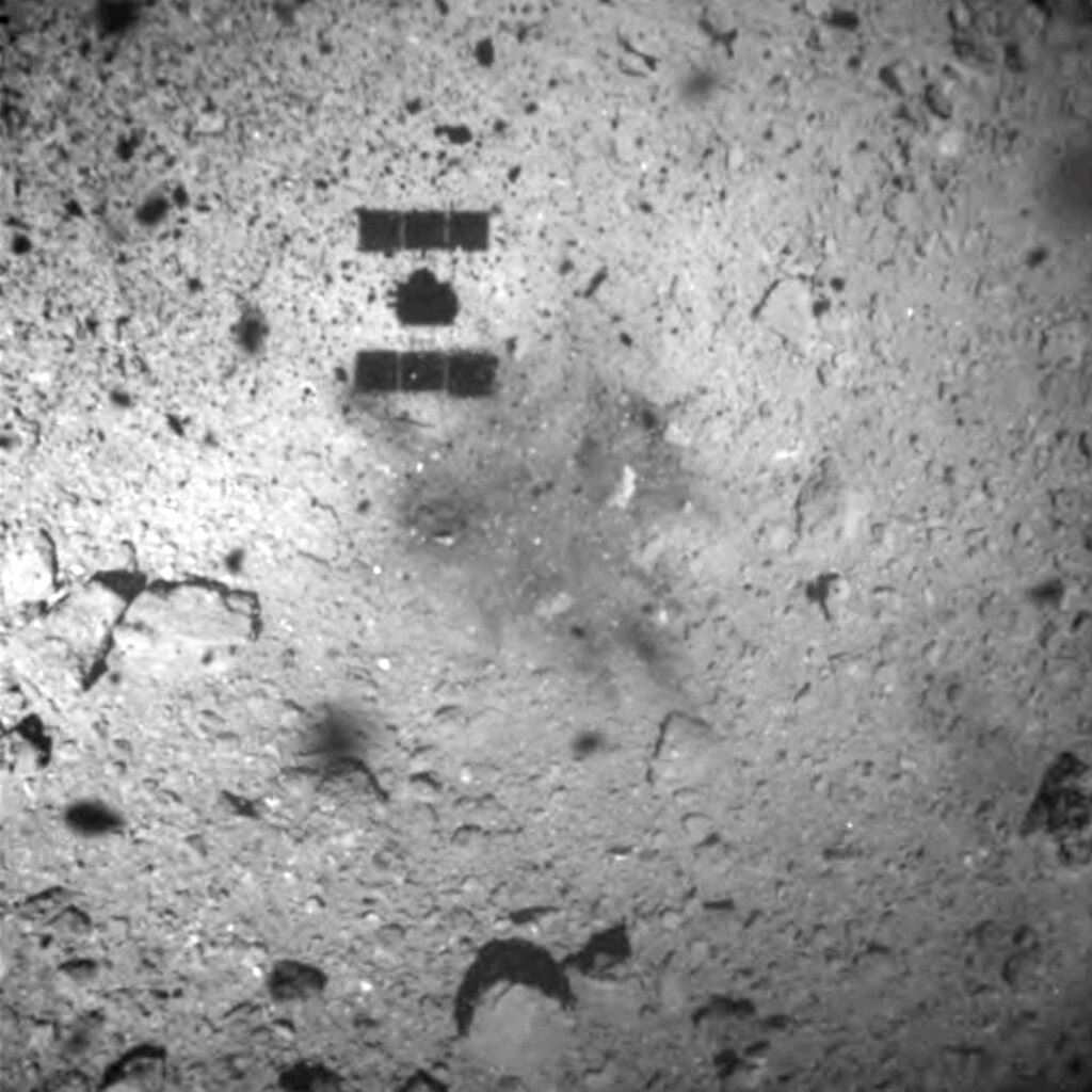 Picture of Japan spacecraft drops explosive on asteroid to make crater