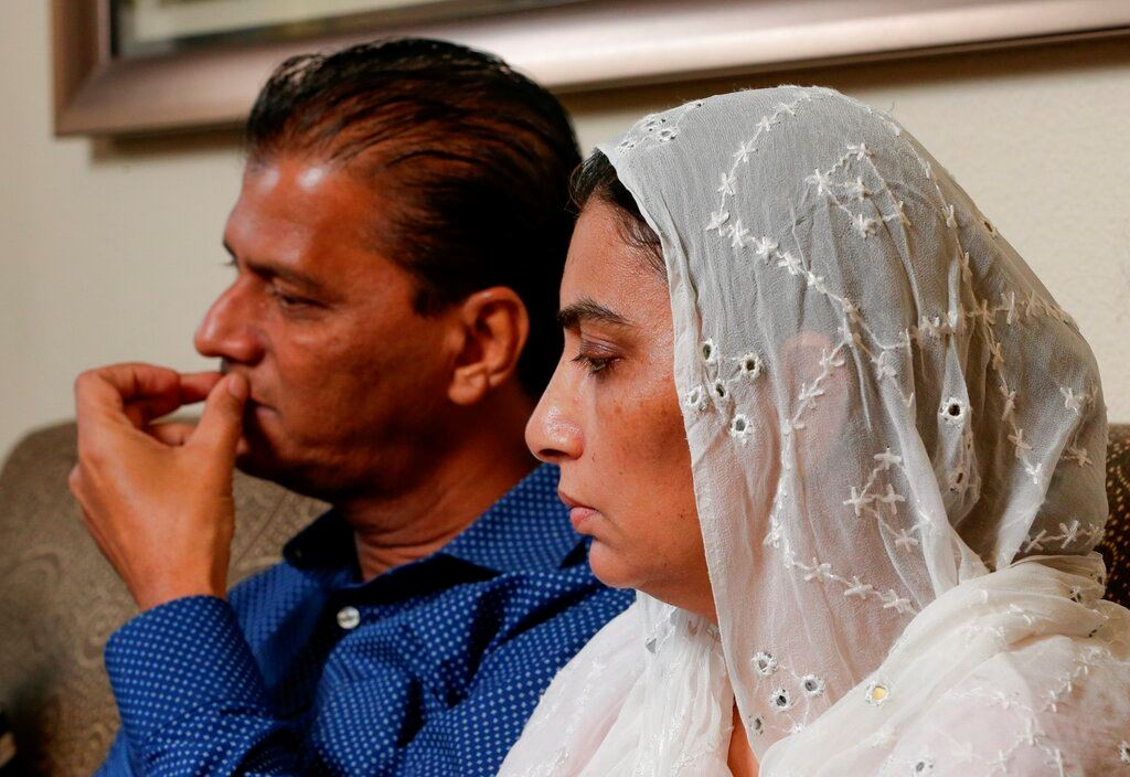 Picture of Pakistani family visits school where exchange student shot