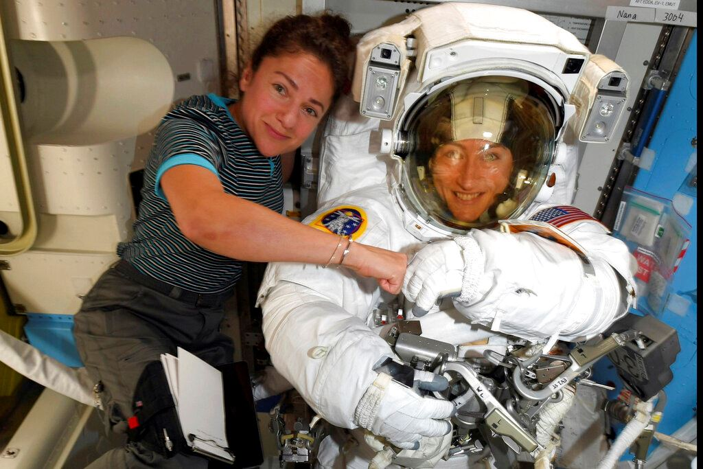 Picture of NASA moves up 1st all-female spacewalk to fix power unit