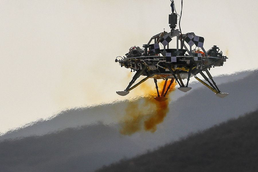 Picture of China, pushing space exploration, tests Mars lander