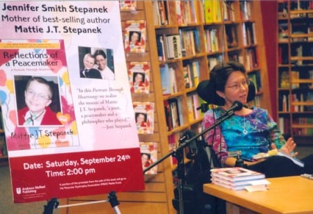 Jeni at a booksigning in Maryland for <i>Reflections of a Peacemaker. A Portrait through Heartsongs</i>.<br>Photo Courtesy of Jim Hawkins