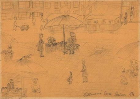 From the collection of children's drawings in Terezin<br>Image from <a href=https://www.jewishmuseum.cz/en/acollectpict.htm>The Jewish Museum in  Prague</a>