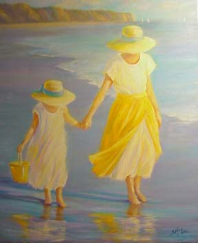 Beach Painting of Mother and Daughter <br> September McGee<p><p>