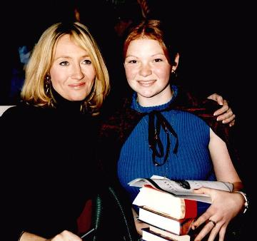 Ashley with Harry Potter author JK Rowling. <i>Teen girl harnesses magic of Potter</i>