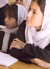 Students at Zarghona High School in Kandahar.<br>Photo from www.afghansforcivilsociety.org