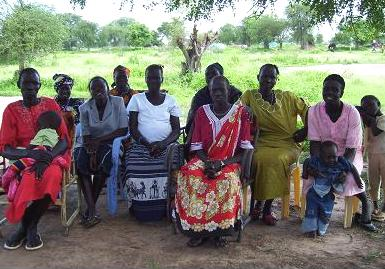 Valentino returned toThe newly elected officers of the Marial Bai Women's Action Group. With a grant from the Foundation, the group will launch small business ventures, beginning with a restaurant.