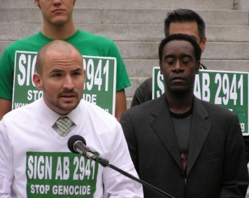 Adam, with Don Cheadle, speaking about the importance of targeted divestment.