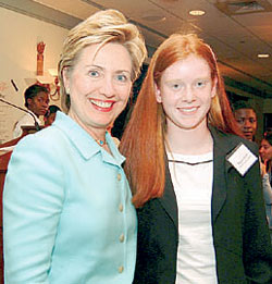 Maura Welch meets Senator Hillary Clinton during Global Campaign for Education Action Week<br>Photo from www.nysut.org
