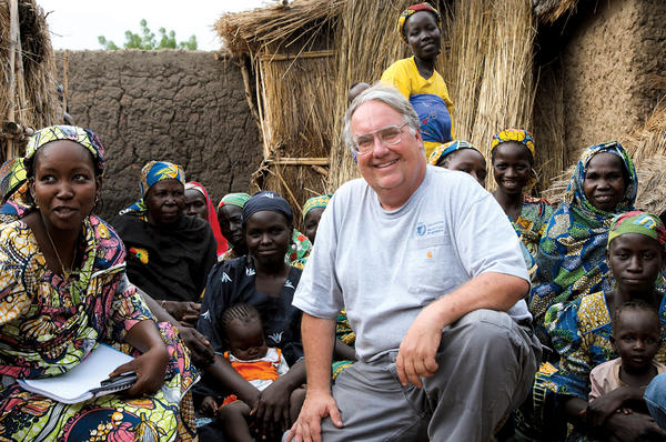 Farmer and philanthropist Howard Buffett meets with women in Cameroon who are part of a World Food Program farming cooperative.  <P>Laura Melo/The Howard G. Buffett Foundation