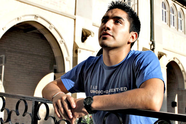 Undocumented UCLA student Carlos Castellanos speaks with a news media member in August 2012 in Los Angeles. TheDream.US fund has raised about $25 million to provide scholarships for high school graduates brought to the US as children.  <P>Jonathan Alcorn/Reuters/File