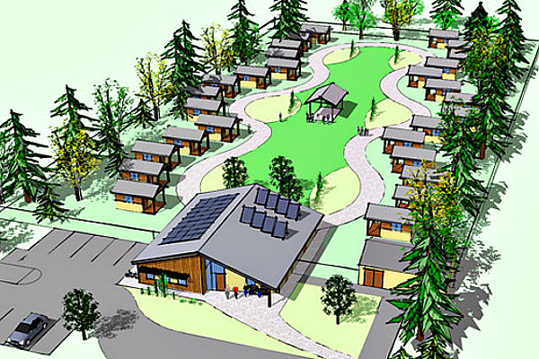 An architect's rendering of Quixote Village in Olympia, Wash.  <P>Courtesy of Panza