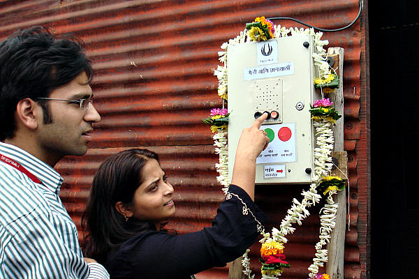 People without internet access in parts of India and Africa can go to a public Question Box, press a button, and receive answers to their questions.  <P>Open Mind – Question Box