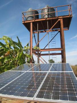 A solar powered water pump now ensures the hospital has running water all day. (photo courtesy of Power Up Gambia)