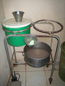 This bucket system was used by doctors, nurses, and midwives in the maternity ward  (image courtesy of Power Up Gambia)
