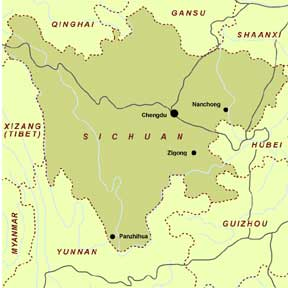 Map of Sichuan Province<br>Photo from http://www.maps-of-china.com/