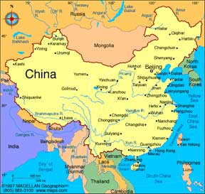Map of China<br>Photo from www.maps.com