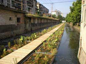"""Restorers are """"floating islands"""" installed in waterways to treat waste and clean polluted waters.<br>Photo courtesy of Ocean Arks International"""
