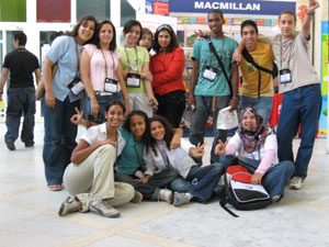<center>Geeta with students at iEARN Egypt conference</center>