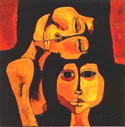 Mother and boy, 1986<br>by Oswaldo Guayasamin<br>Image from https://www.guayasamin.com/<br>pages_ing/2_obra_ternura.htm