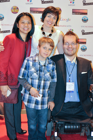 Angelina Cantada with Josh Vander Vies, his wife, and son at the 2011 MY HERO International Film Festival (Photo by Jamie Andrews, The MY HERO Project)
