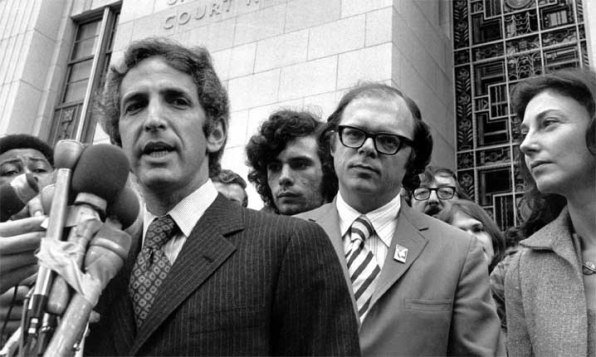 Daniel Ellsberg with co-defendant Tony Russo after charges were dismissed in the Pentagon Papers case in 1973. Daniel's wife Patricia is at the right.
