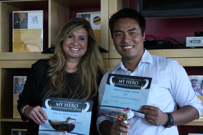 Filmmaker Diane Namm and Burmese doctor Sasa with their MY HERO People's Choice Award