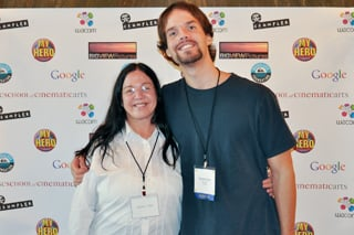 USC student Daniel Gross (left) with guest, winner of the College category for his film <i>Joel's Hero</i>