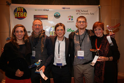 Kathy Eldon and the team behind A Ride With Matt, winner of the Dan Eldon Activist Award: (from left to right) co-producer Deanne Brannen-Jurgenson, Adam Austin, Robert Rippberger, Matt Austin, Kathy Eldon